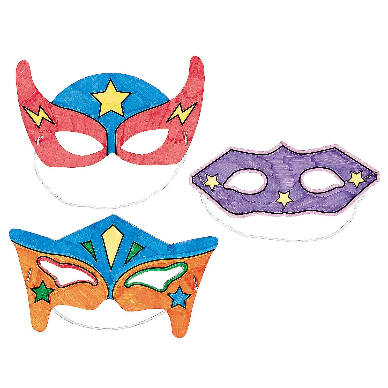Color Your Own Superhero Masks Oriental Trading Superhero Crafts Superhero Masks Superhero Party Supplies