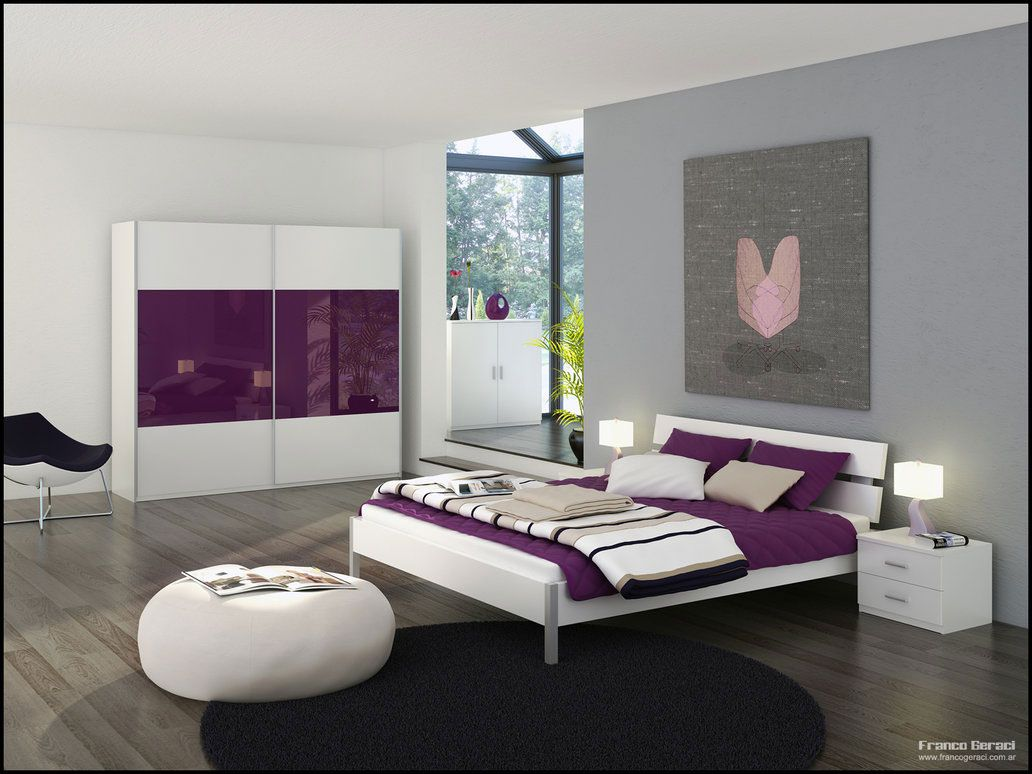 Gray Bedroom With Purple Accents bedroom-grey-theme-bedroom-design-and-purple-accents-with-white