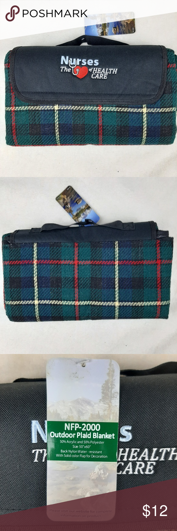 Nurses Outdoor Plaid Blanket + carrying strap NWT NWT in
