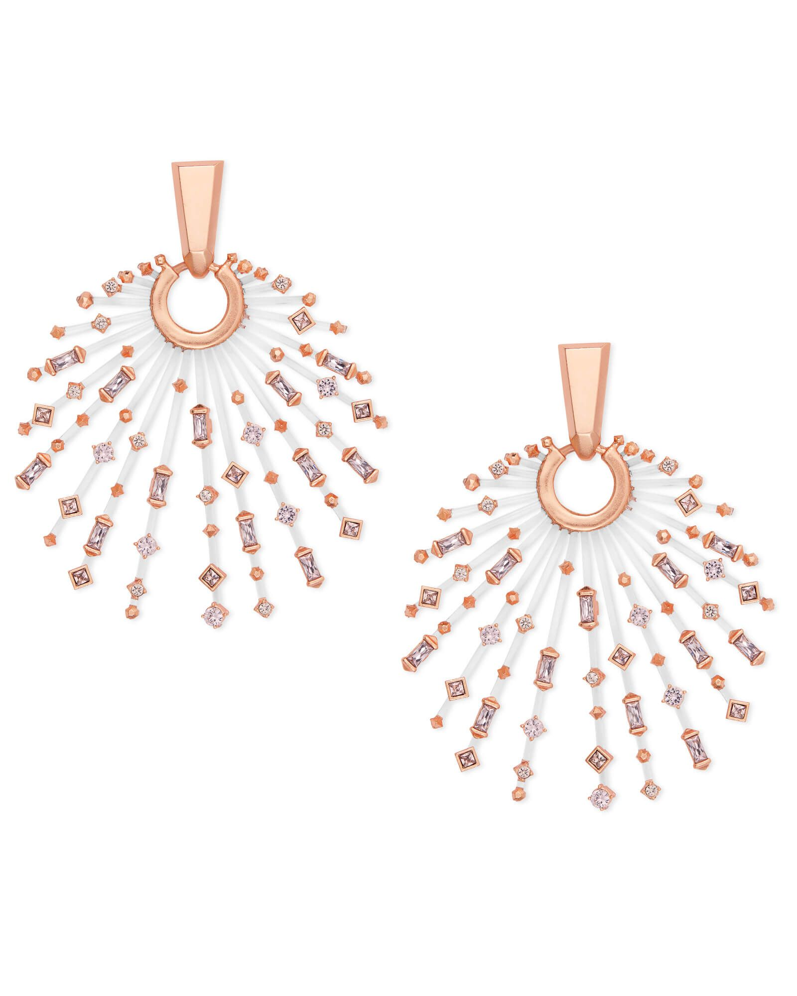 e7703e66e Get the Fabia Rose Gold Statement Earrings in Blush Mix for an arrangement  of hand-place pave crystals, held together with thin acrylic rods.