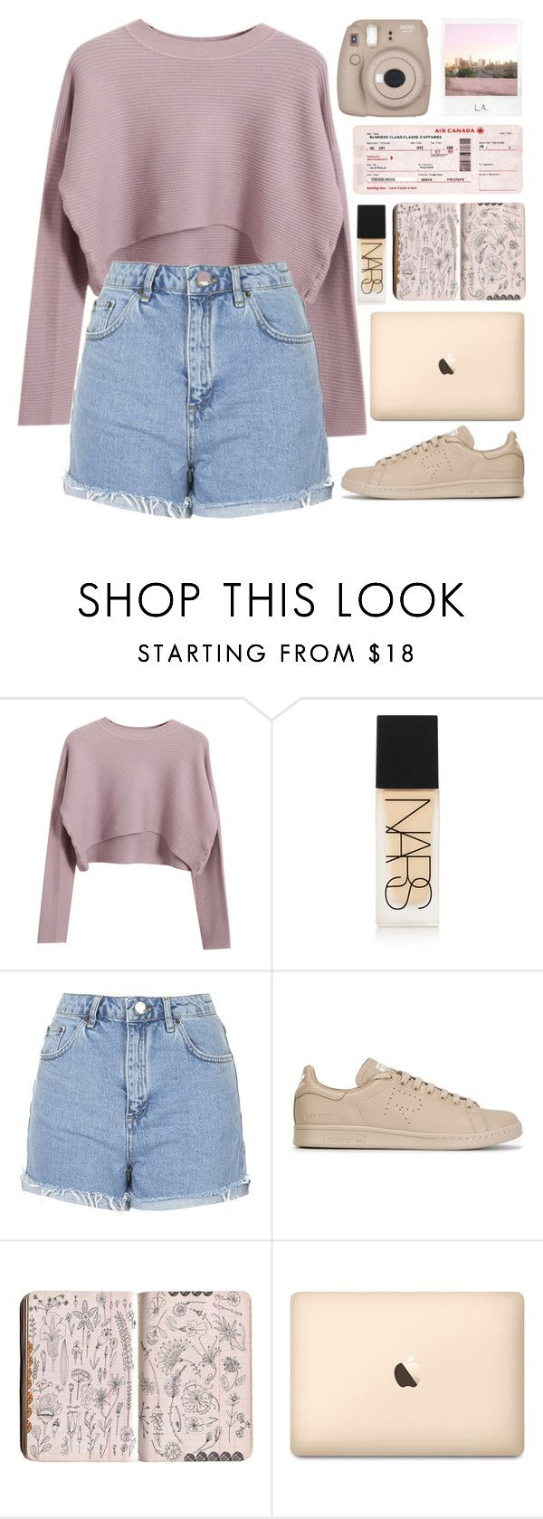"""this pink"" by janesabelle on Polyvore featuring Chicnova Fashion, NARS Cosmetics, Topshop, adidas, Polaroid and Fujifilm"