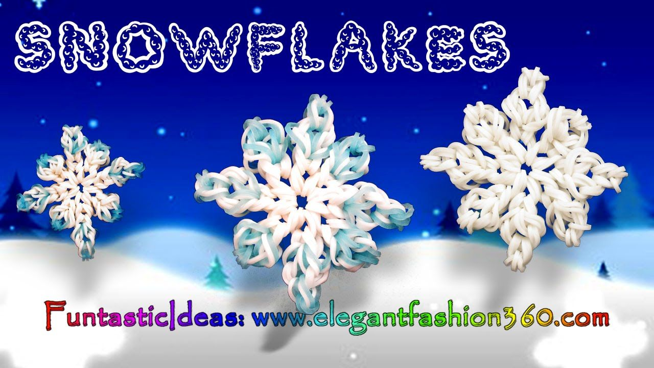 Rainbow Loom Snowflake 2D Charms - How to Loom Bands Holiday/Christmas/W...