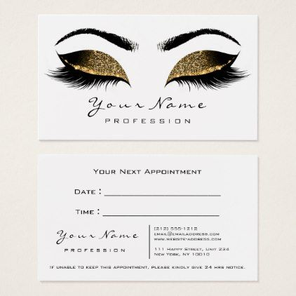 Makeup artist lashes white gold appointment card stylist makeup artist lashes white gold appointment card stylist business card business cards cyo stylists customize reheart Choice Image
