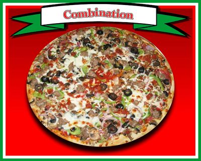 Combination Pizza  Pizza sauce, mozzarella cheese, salami, fresh mushrooms, bell peppers, red onions, black olives, pepperoni, & Italian sausage