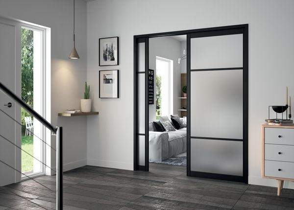 ch ssis pour porte coulissante double 2 portes. Black Bedroom Furniture Sets. Home Design Ideas