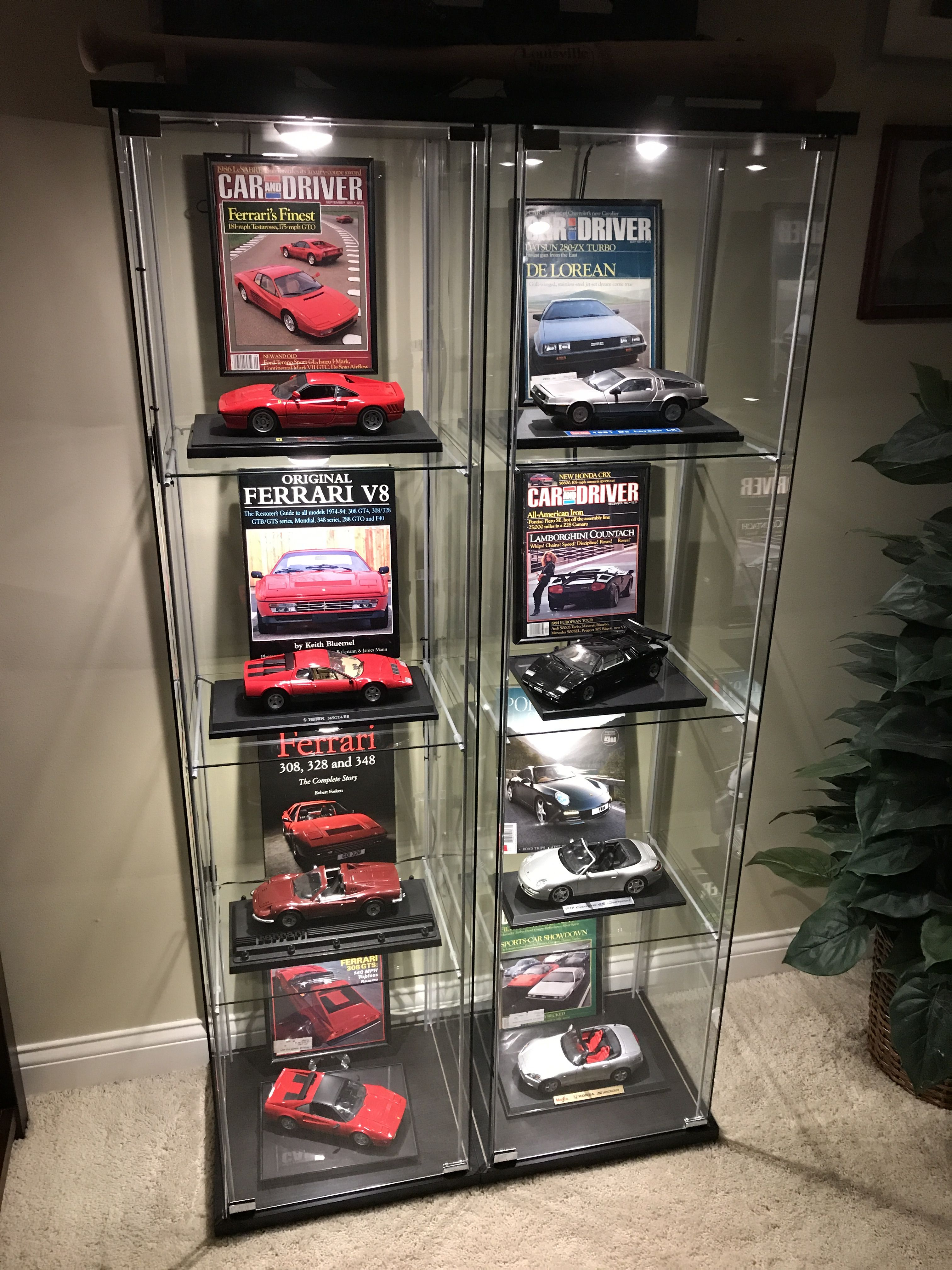 Ikea Detolf Display Case Lighted With Model Car Collection
