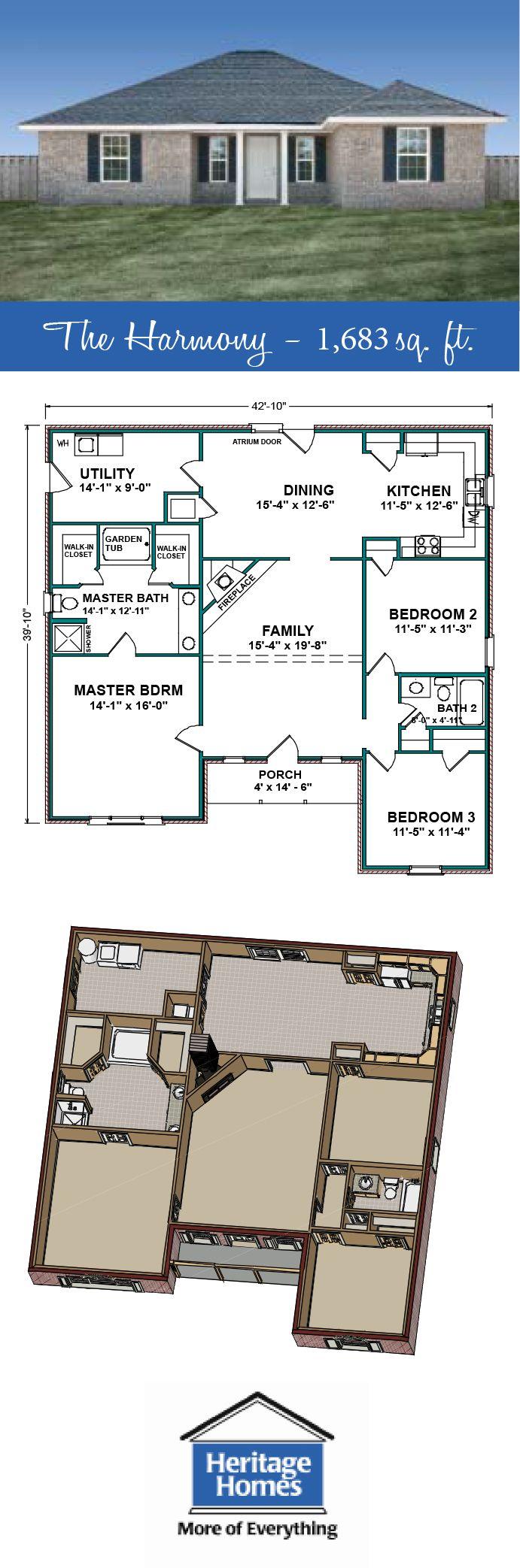 1 600 1 7000 Sq Ft Floor Plan The Harmony Is A 1 683 Sq Ft Home With 3 Beds 2 Baths Split Floor Pole Barn House Plans Barn House Plans Best House Plans