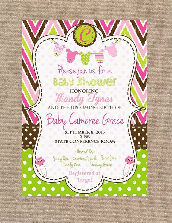 Girl Baby Shower Invitation Pink Green And Brown Baby Shower