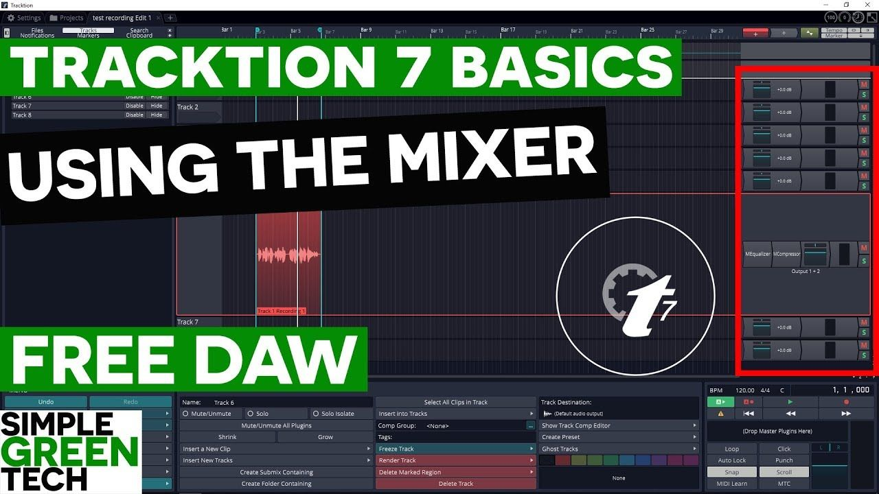 Tracktion 7 Tutorial: Using The Tracktion Mixer | Audio Recording