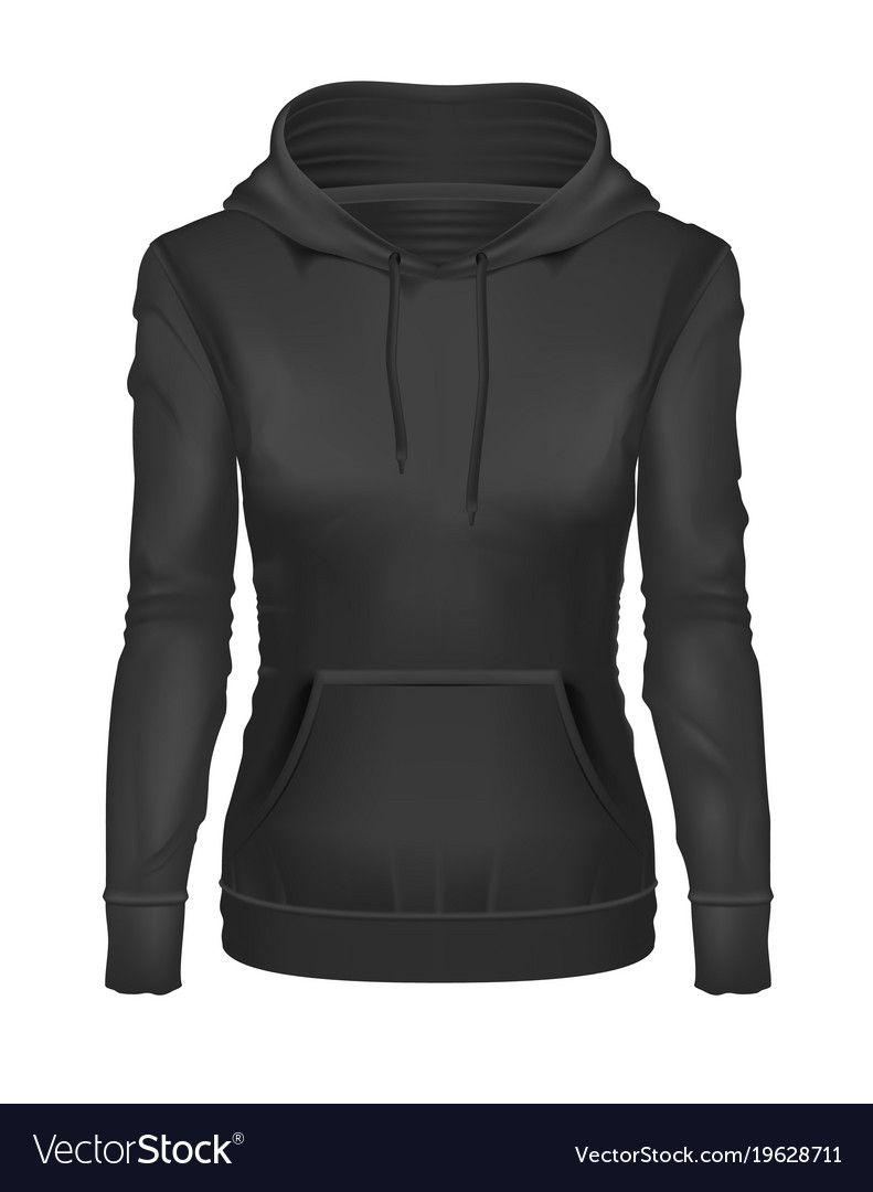 Download Realistic Black Girl Hoodie Template Mockup Vector Image Girls Black Hoodie Hoodie Template Black Hoodie Template