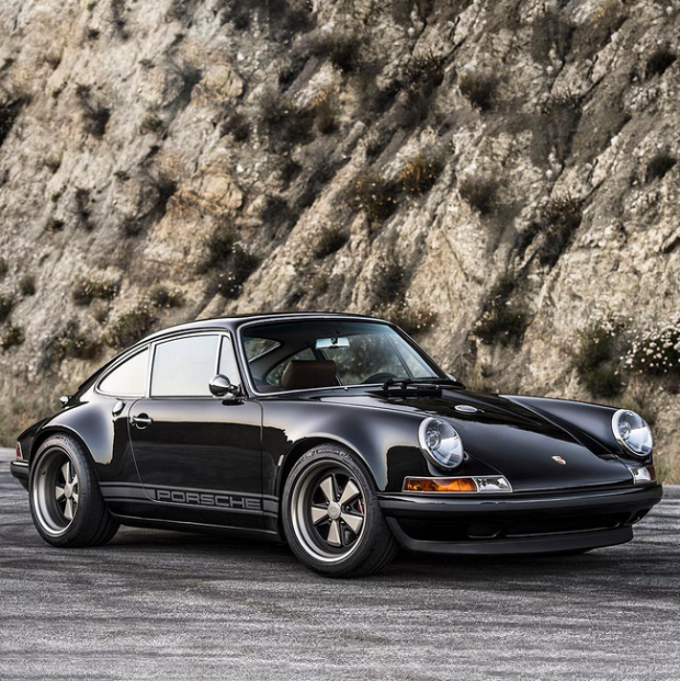 a black and tan custom porsche 911 thats all kinds of cool