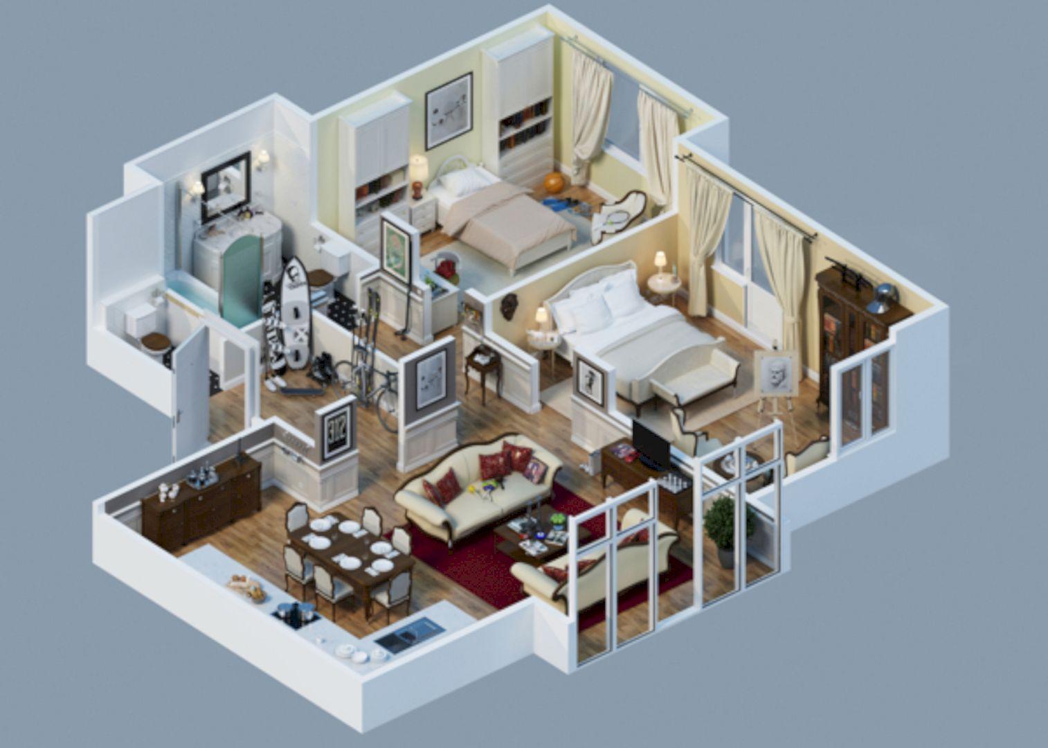 Well-Designed 3D House Plan Design Ideas | 3d house plans, House ...