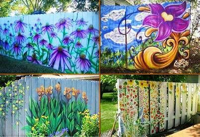 fence painting outdoor painting garden painting painted fences