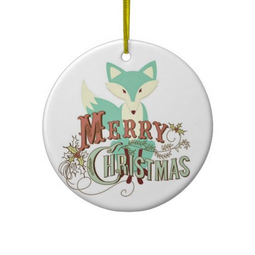 Teal Merry Christmas Fox Christmas Tree Ornament