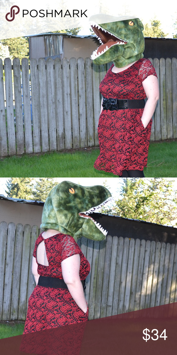 00b025f92a Torrid 2X Black and Red Lace Dress (with Pockets!) This Torrid 2X black and  red lace dress has pockets and a keyhole opening in the back. Belt not  included.