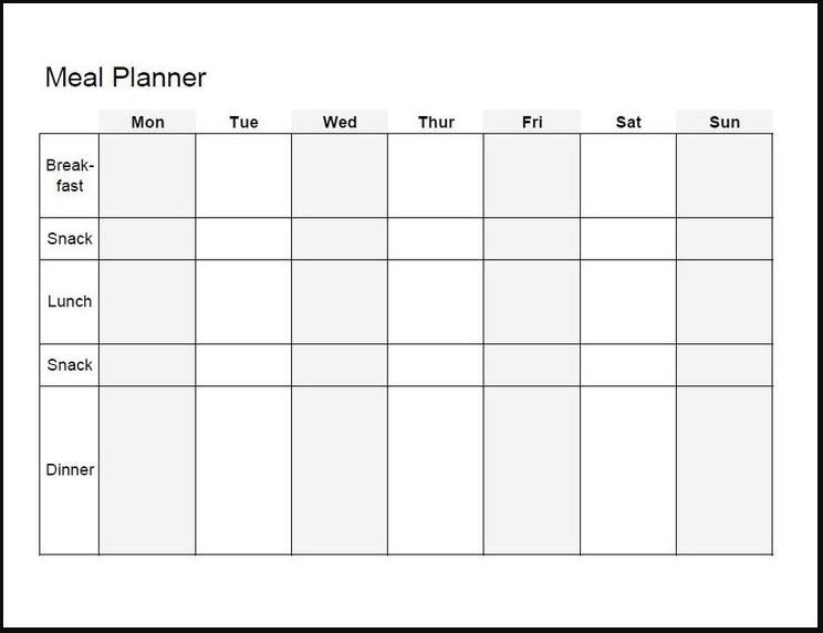 DrKim Post Bariatric Sample Meal Plan  Meal Planning Template