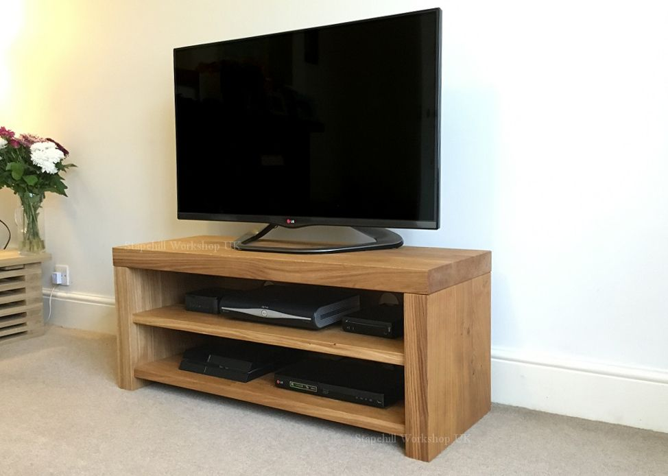 portland 60 solid oak tv stand with oak shelves and backing thick chunky rustic stapehill workshop