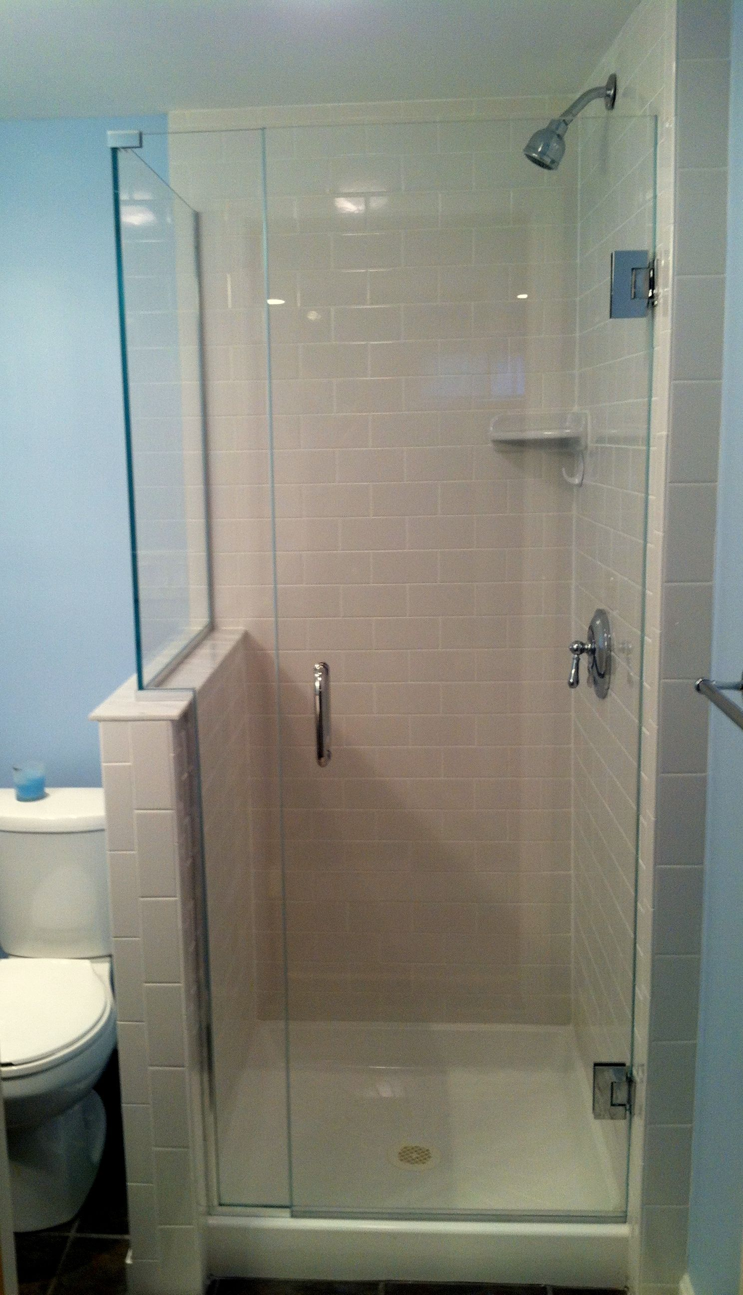 Compact Shower Door Solution This 32 X 32 Base Has A Frameless 3 8 Thick Glass Shower Door Wall Mounted With The P Glass Shower Shower Remodel Shower Doors