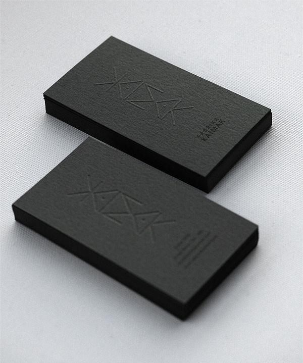 Kaimak Embossed Business Card Design Black Embossed Business Cards Minimalist Business Cards
