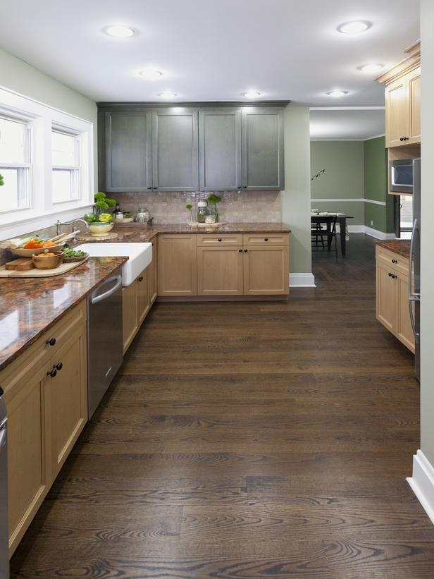 Green Wall Kitchen With Beech Cabs Love The Floor Hardwood Floors In Kitchen Country Kitchen Wooden Kitchen Floor