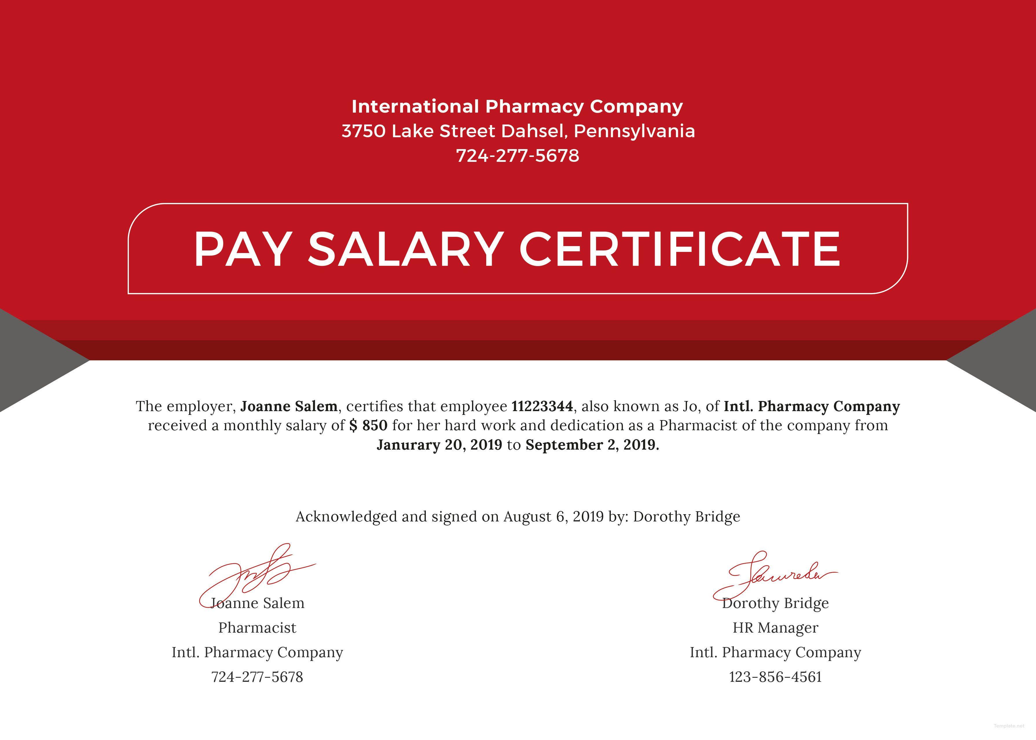 Free Salary Pay Certificate Graduation certificate