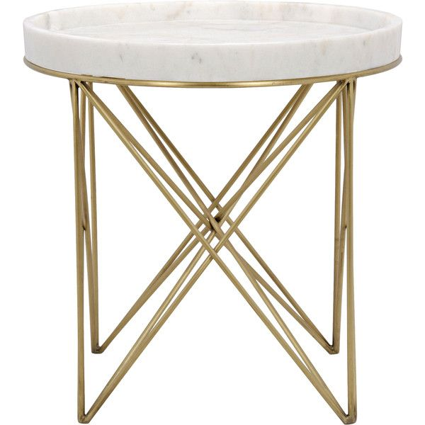 Toni Brass Pin White Stone Tray End Table 958 Liked On Polyvore Featuring Home Furniture Tables Accent T With Images Side Table Brass Accent Table White End Tables