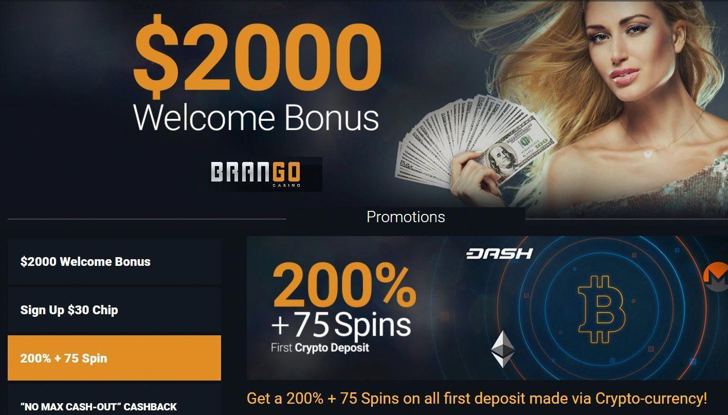 Casino Brango Bitcoin bonus get 200 extra plus 75 free