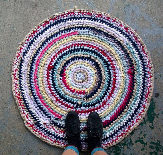 Circus Recycled Rag Rug by sockmonster on Etsy, $62.00