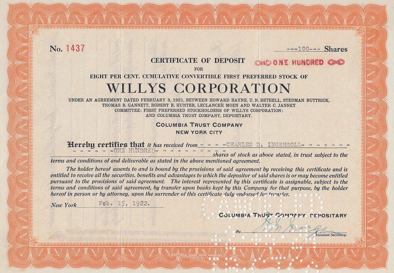 Willys certificate of deposit for stock 1921 old stock willys certificate of deposit for stock 1921 1betcityfo Images