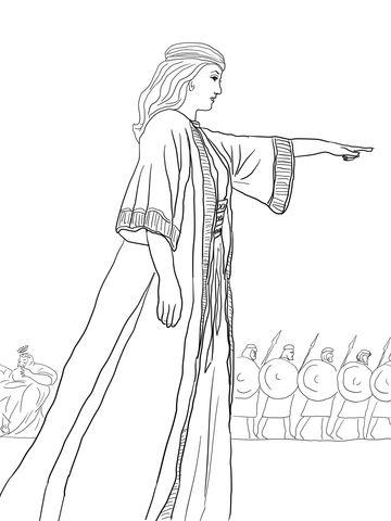 Deborah The Prophetess Coloring Page Bible Coloring Bible
