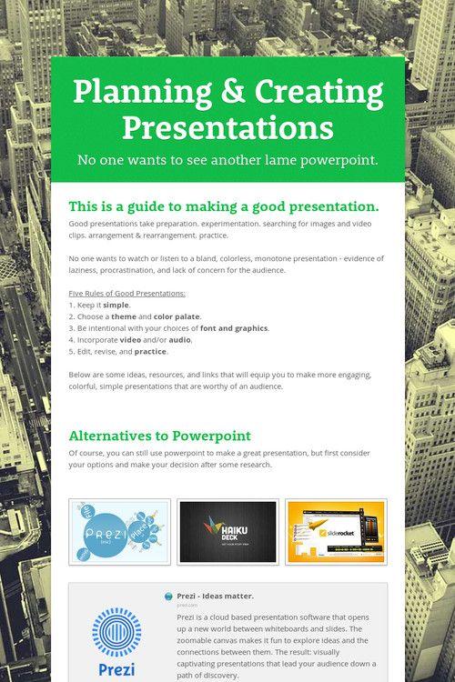 Planning Creating Presentations Presentation How To Plan Good Presentation