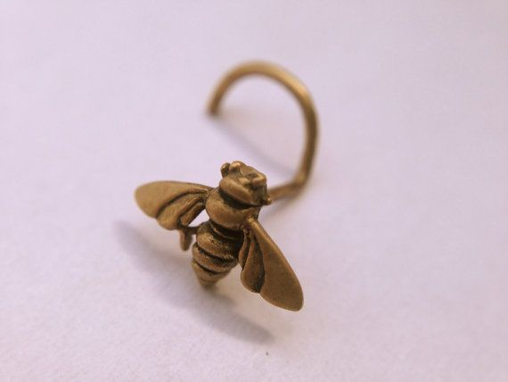 Gold Bee Nose Stud Yellow Gold Bee Nose Screw Insect Nostril