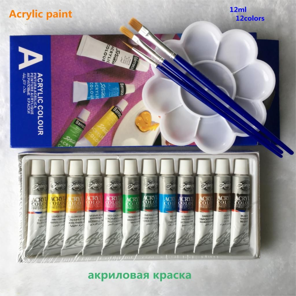 12 Colors Acrylic Paint Color Set For Artists 12 Tubes 12ml Nail