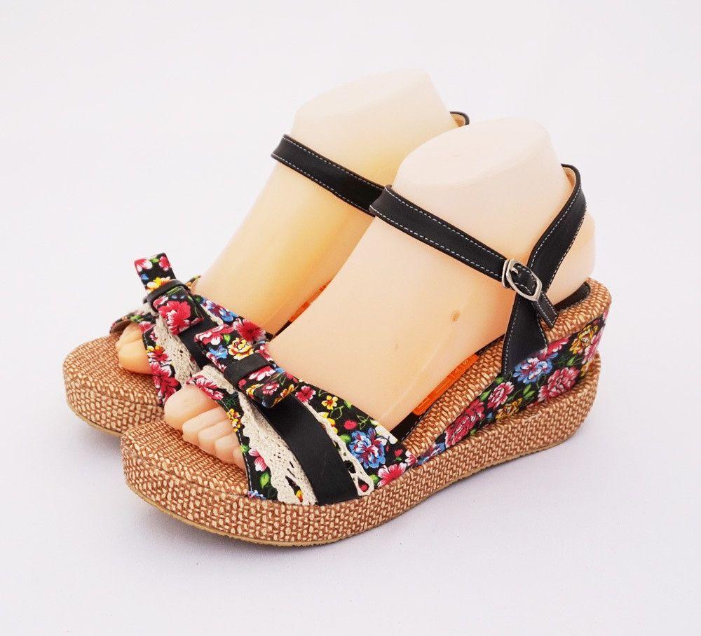 Sandal Wedges Flower Brokat Elegan Cantik Warna Hitam Heels 7 Cm Safety Boot Bahan Kulit Asli Home Made Indonesia