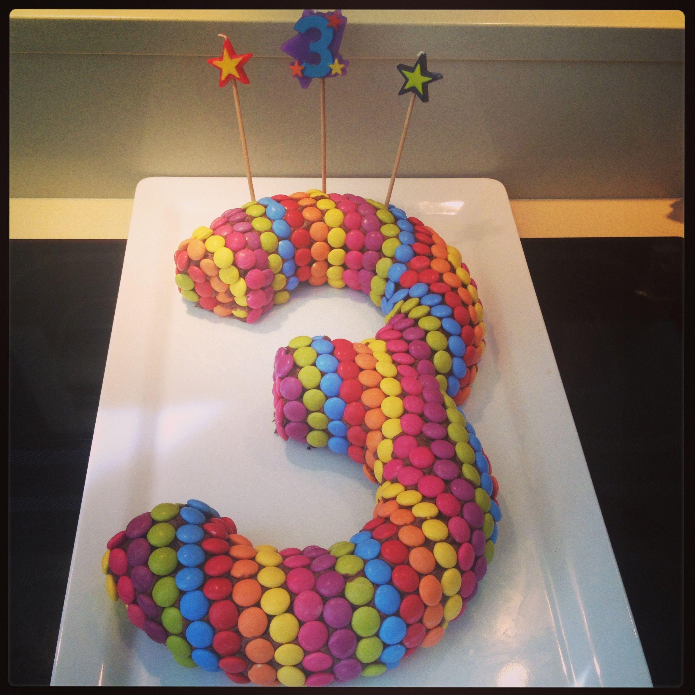 Number  Birthday Cake Chocolate Mud Cake Covered In Smarties - 3 birthday cake