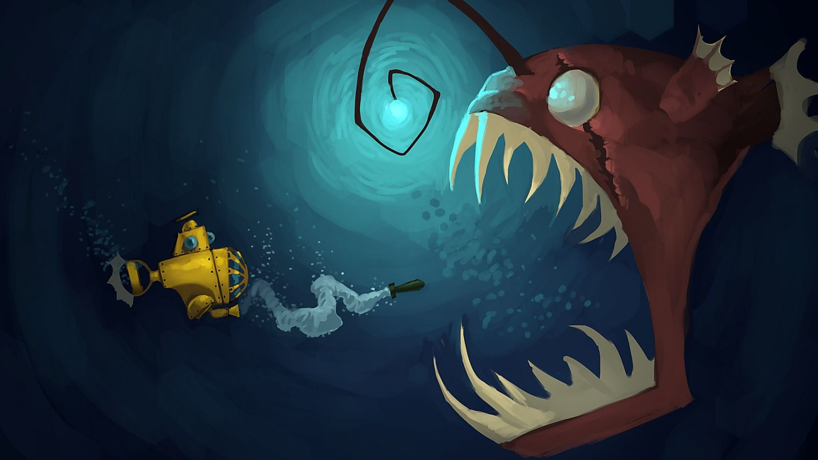 Angler Encounter Picture 2d Illustration Concept Art Fish
