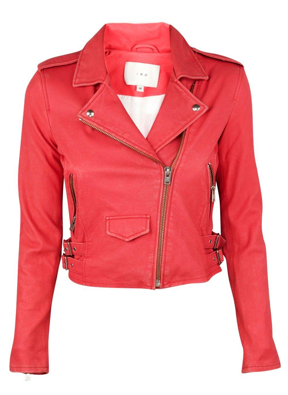Ashville Coral Pink Leather Jacket Red Crop Jacket Pink Leather Jacket Coral Leather Jacket [ 1372 x 1000 Pixel ]