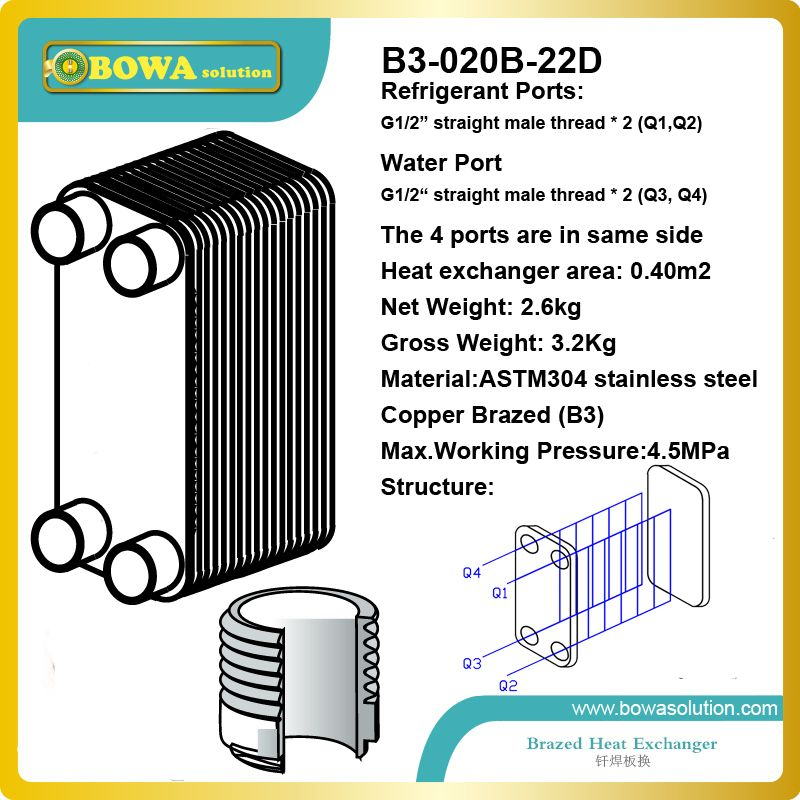 7 5kw R410a To Water Copper Brazed Stainless Steel Plate Heat