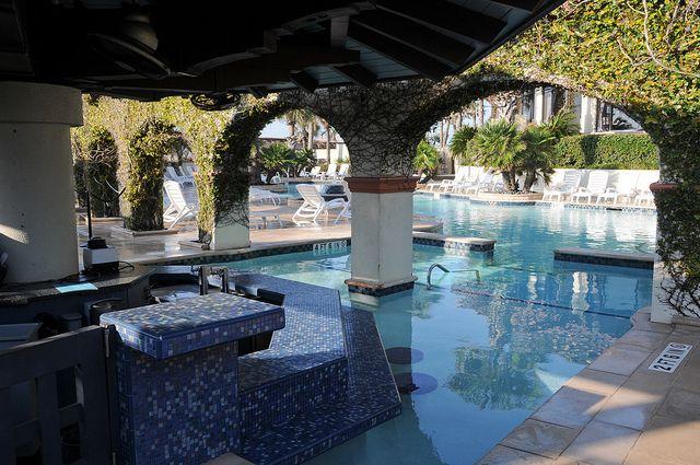 Swimming Pool Bar Hotel Galvez Galveston Texas TX Palm Trees