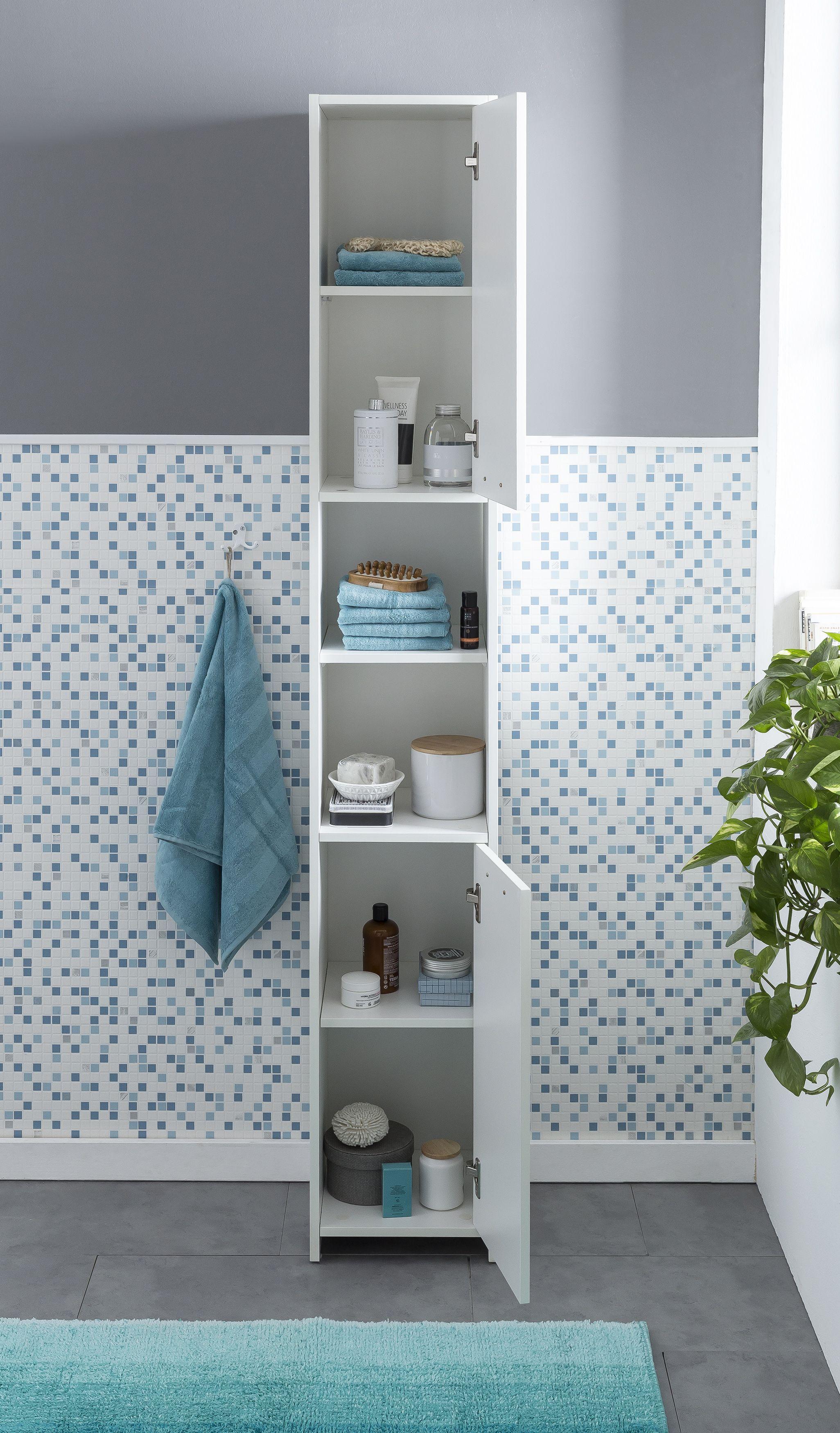 Wohnling Badschrank In Weiss Wl5 751 Aus Spanplatte Bathroom Cabinet Badezimmer Regal Regal Bad Regal Holz