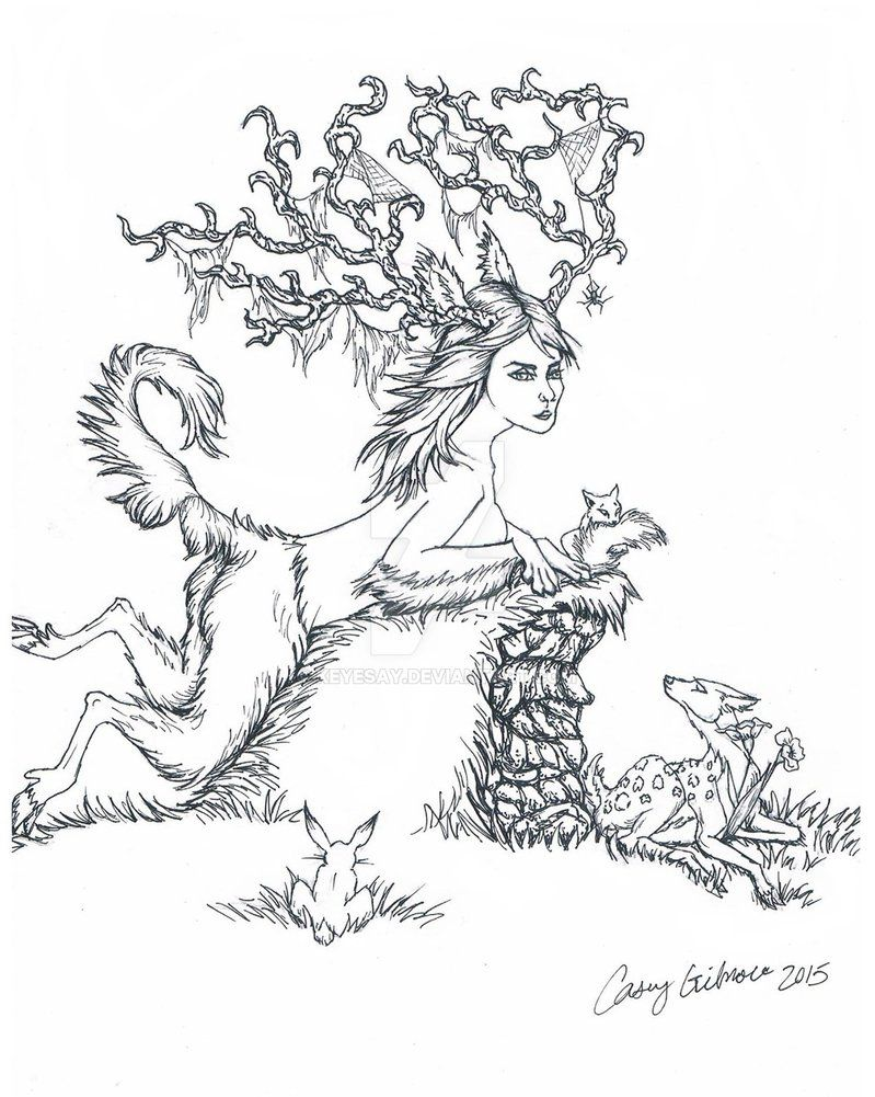 elven druid coloring page by keyesay keyesay at deviant
