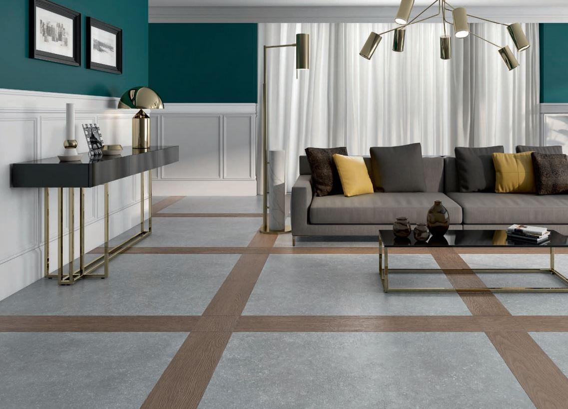 Salones con acabados de lujo con suelos mixtos imitación madera y