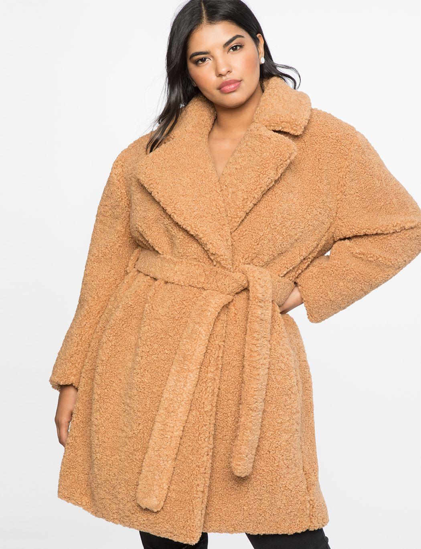 Boucle Teddy Coat Women S Plus Size Coats Jackets Eloquii Plus Size Coats Coats For Women Large Women Clothing [ 1370 x 1050 Pixel ]