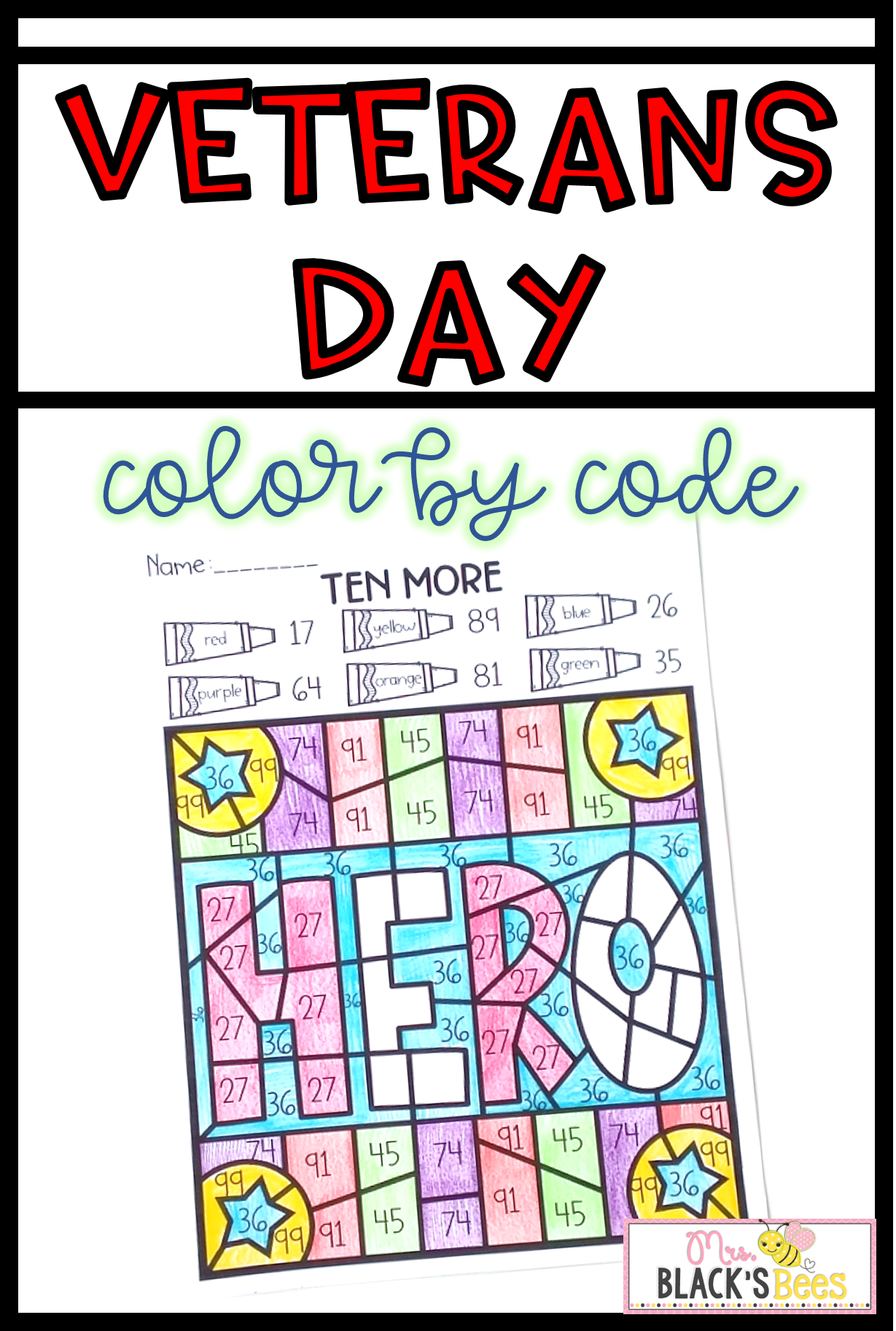Veterans Day Color By Code