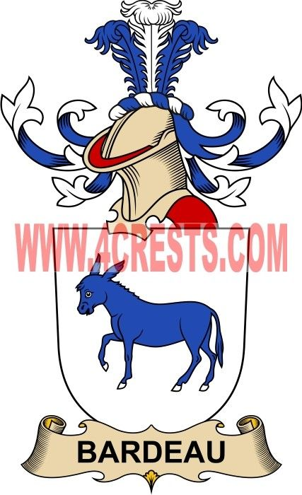 Bardeau Coat Of Arms Family Crest By Name Symbol Heraldry Code