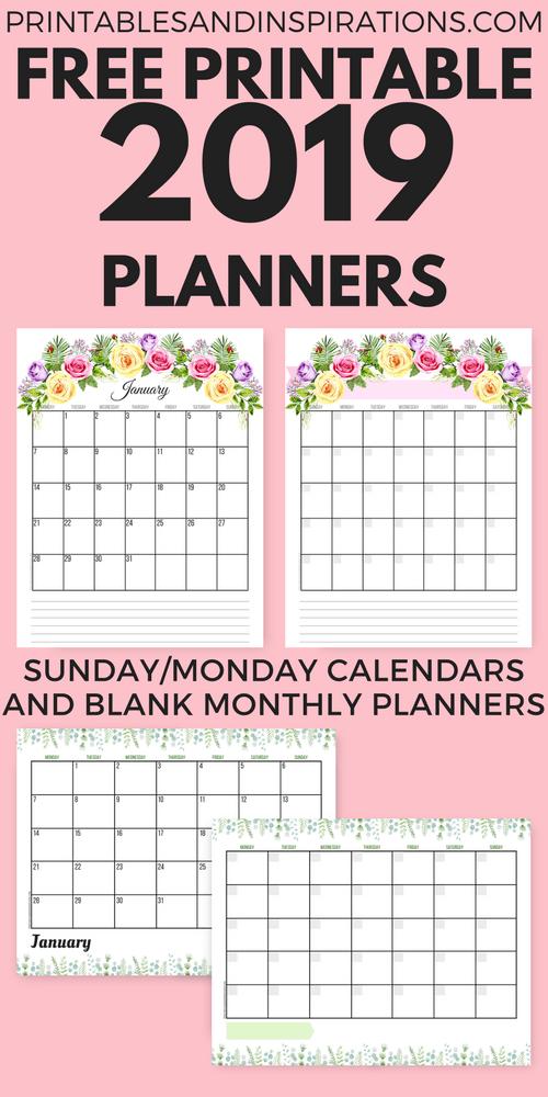 Free 2019 Planner Printable Free Printable Planner 2019 Calendar