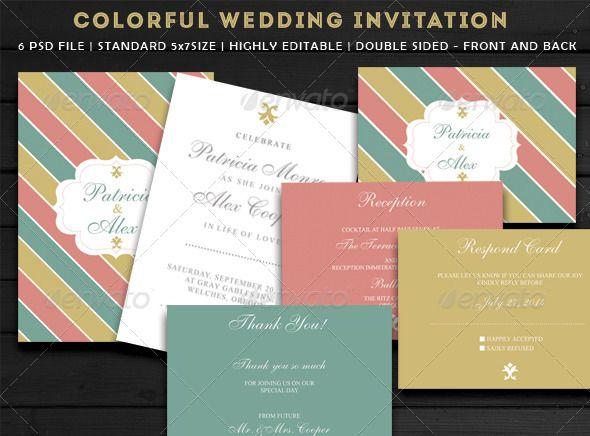 Colourful Wedding Invitation | Pinterest | Colorful wedding ...