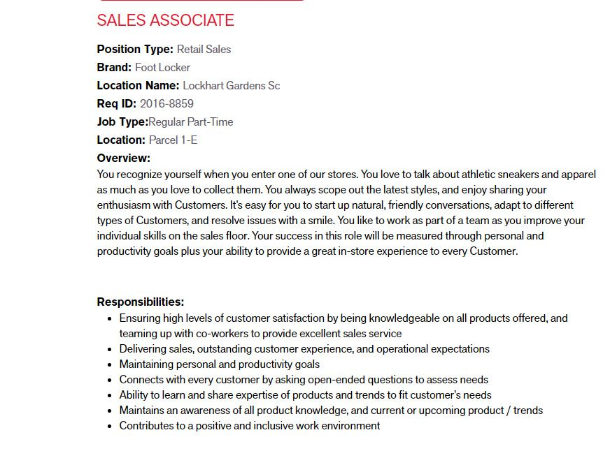Foot Locker, Inc Position SALES ASSOCIATE Jobs Circular 2017