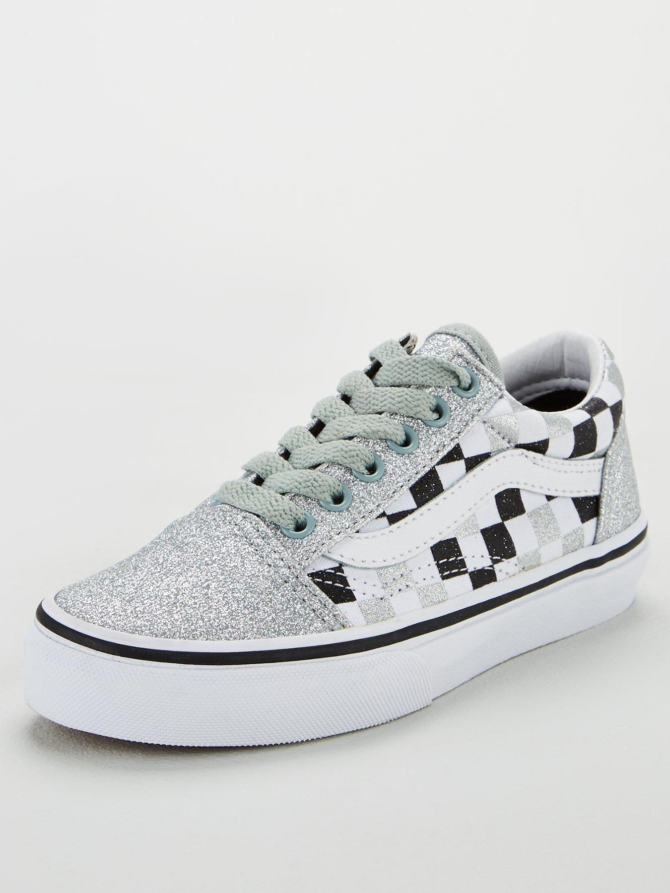 Vans Old Skool Checkerboard Childrens Trainers Silver