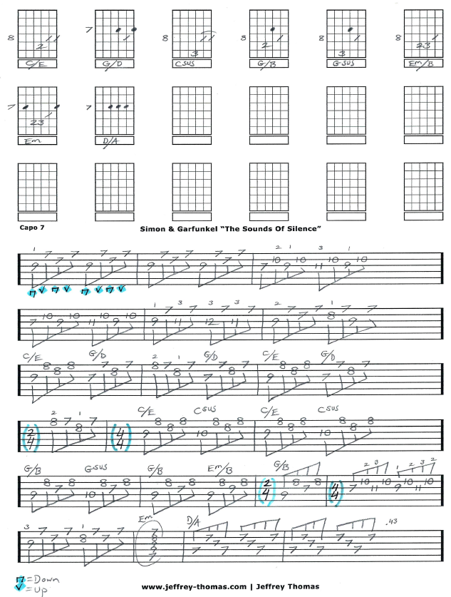 The Sounds Of Silence By Simon Garfunkel Free Guitar Tab By